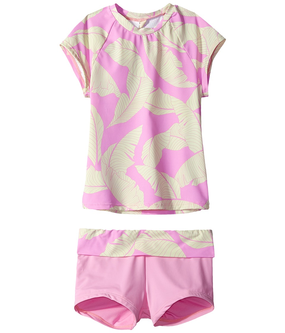Hobie Kids Fronds Forever Short Sleeve Rashguard and Swim Shorts (Big Kids) (Pop Pink) Girl
