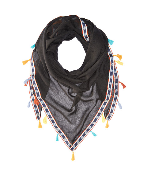 Steve Madden Multicolor Tassels and Trim Triangle Day Wrap - Black