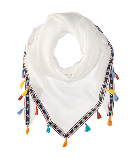 Steve Madden Multicolor Tassels and Trim Triangle Day Wrap - White
