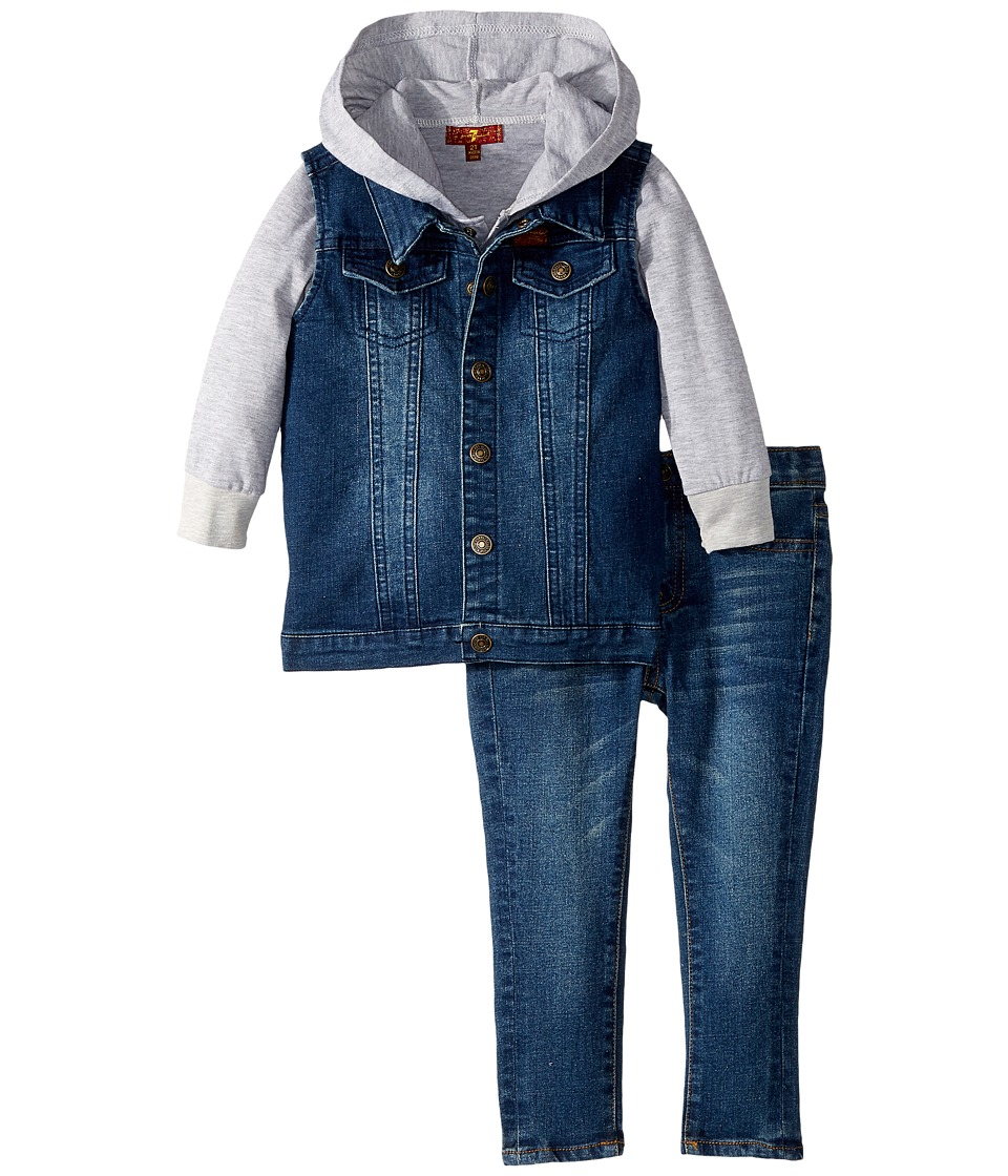 7 FOR ALL MANKIND Kids - Vest/T-Shirt Hoodie/Jeans Set (T...