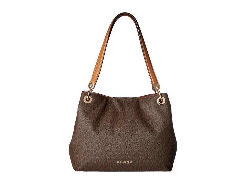 Michael Kors Raven Large Shoulder Tote (Brown) Tote Handbags