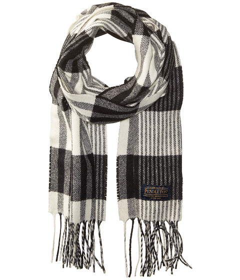 Pendleton Park Plaid Whisperwool Muffler - Black/White Plaid