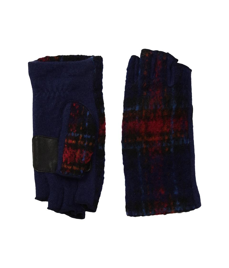 Echo Design Plaid Fingerless Gloves (Maritime Navy) Dress Gloves
