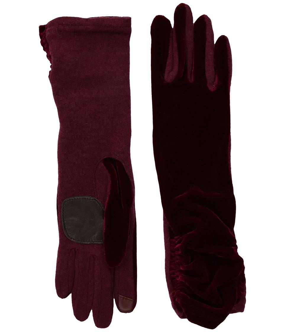 Echo Design Long Classic Velvet Gloves (Port) Dress Gloves