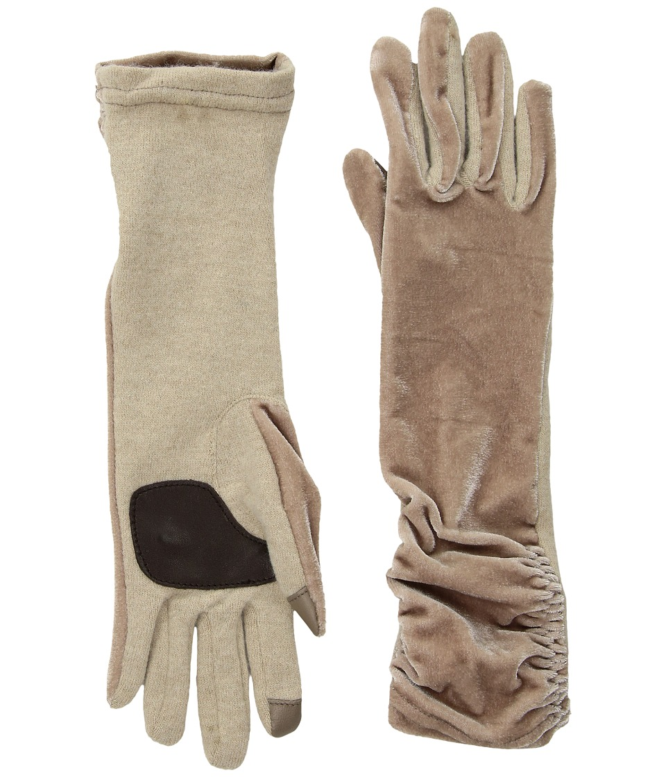 Echo Design Long Classic Velvet Gloves (Oatmeal) Dress Gloves