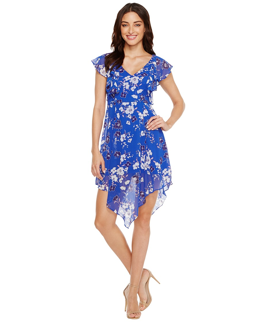Jessica Simpson - Printed Ruffle Dress with Asymmetrical Hem JS7A9387 (Print) Womens Dress