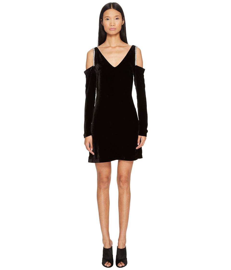 McQ V-Neck Velvet Diamante Dress (Darkest Black) Women