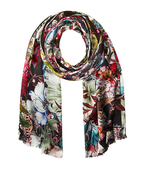Echo Design Floral Patchwork Double-Faced Scarf Wrap - Black
