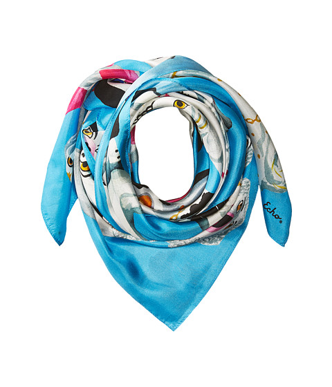 Echo Design Staffordshire Dogs Silk Square Scarf - Blue Bell