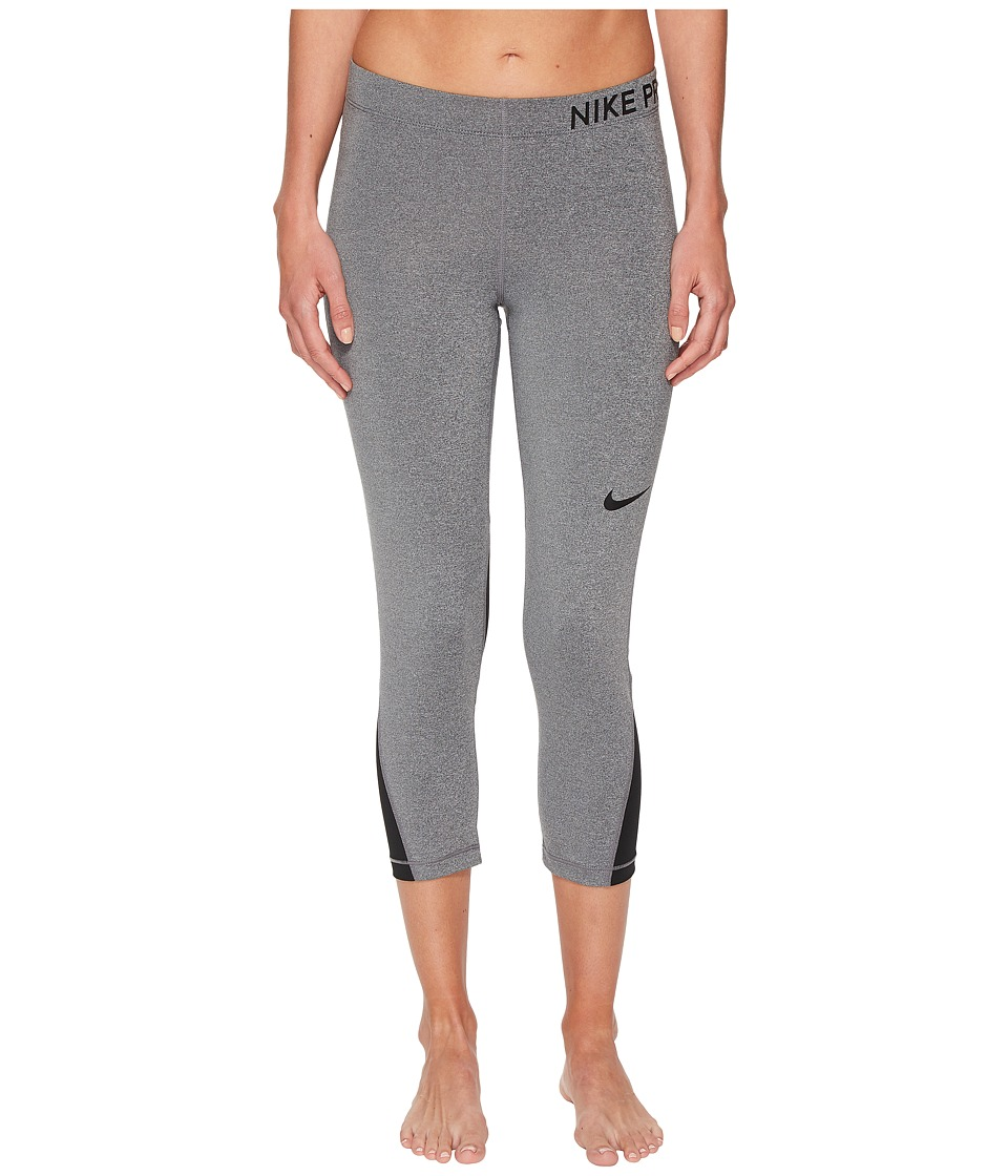 Nike Pro Capri (Charcoal Heather/Black/Black) Women
