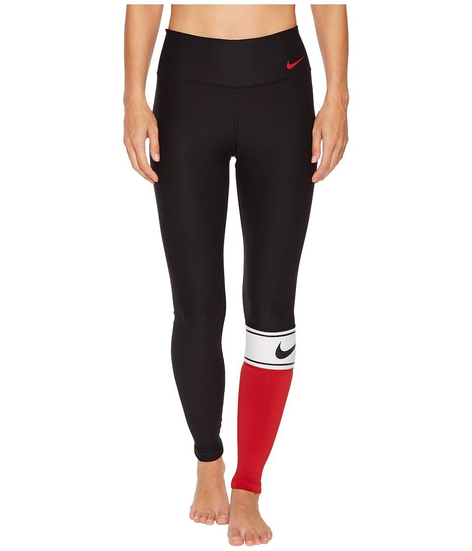 Nike Power Color Block Training Tight (Black/White/Black/Gym Red) Women