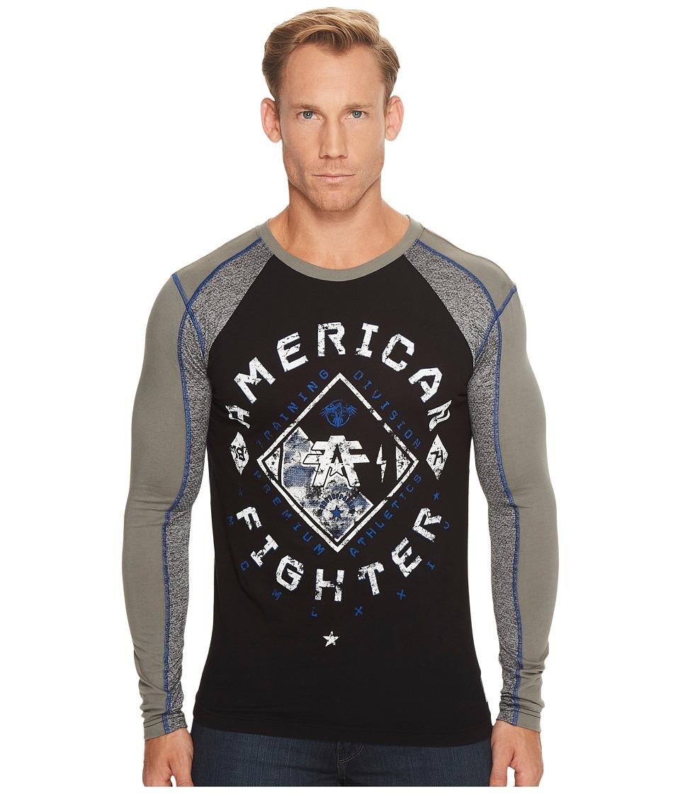 American Fighter Richmond Long Sleeve Panel T-Shirt (Black/Graphite) Men