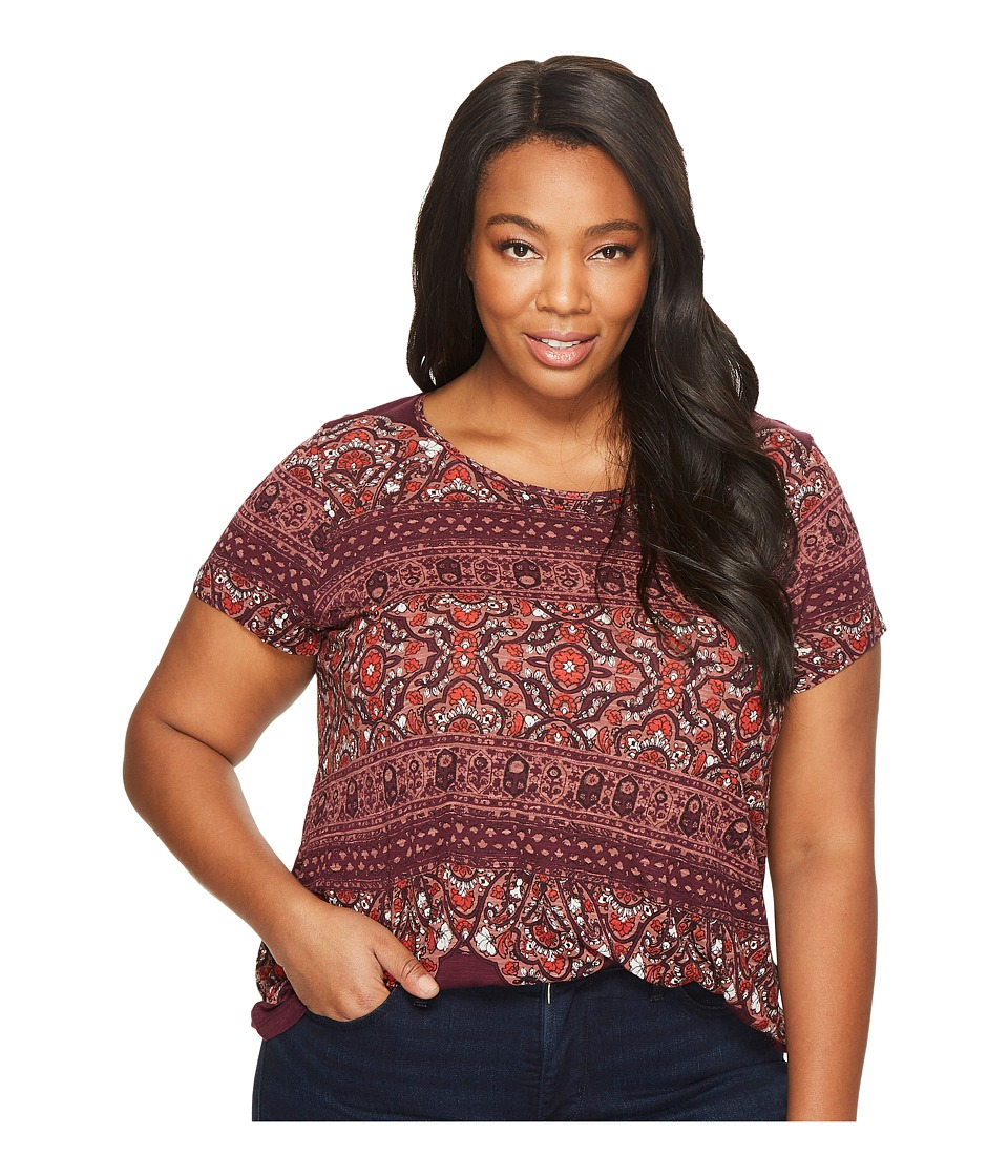 Lucky Brand Plus Size Ornate Border Tee (Multi) Women