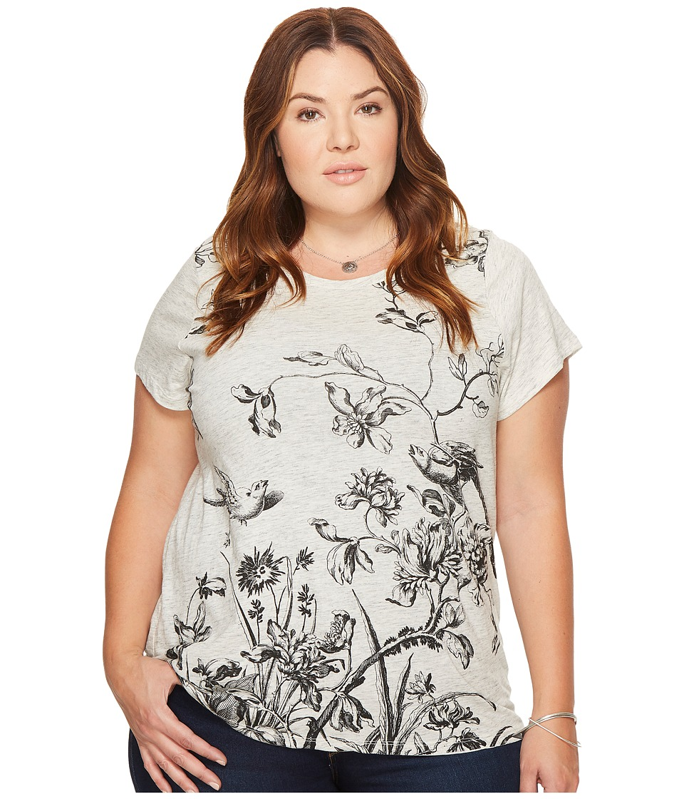 Lucky Brand Plus Size Antique Floral Tee (Heather Grey) Women