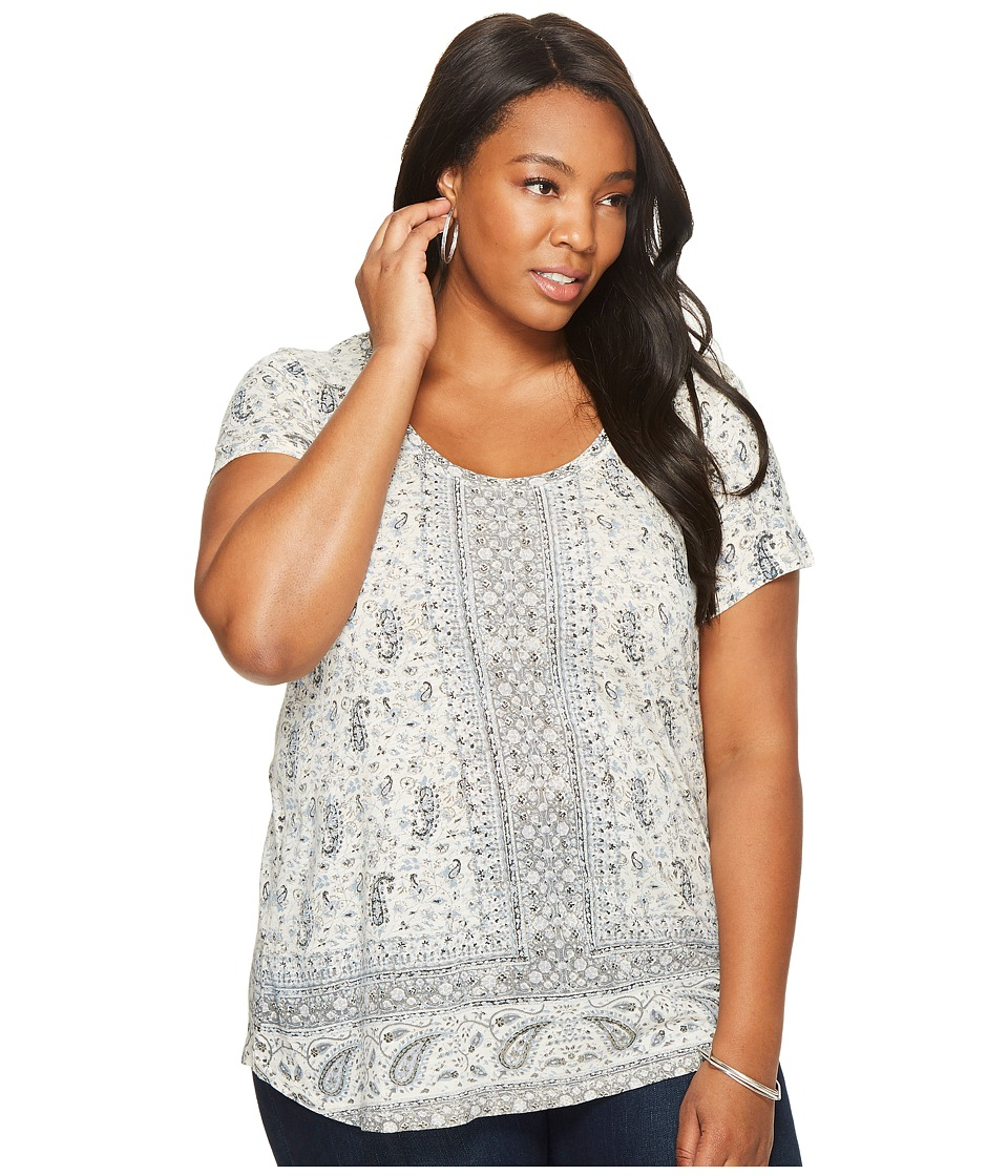 Lucky Brand Plus Size Short Sleeve Erun Woodblock Tee (Blue Multi) Women