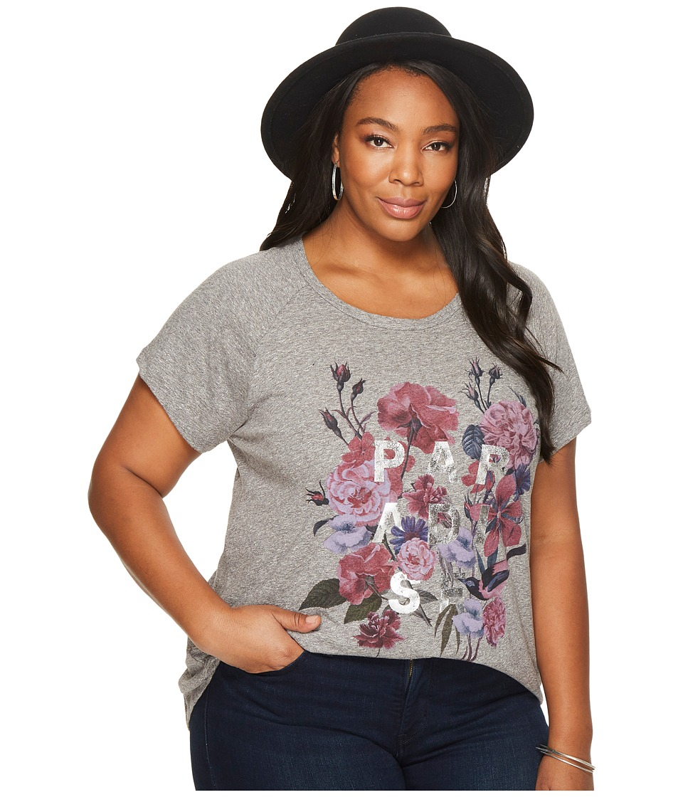Lucky Brand Plus Size Paradise Flowers Tee (Charcoal Heather) Women