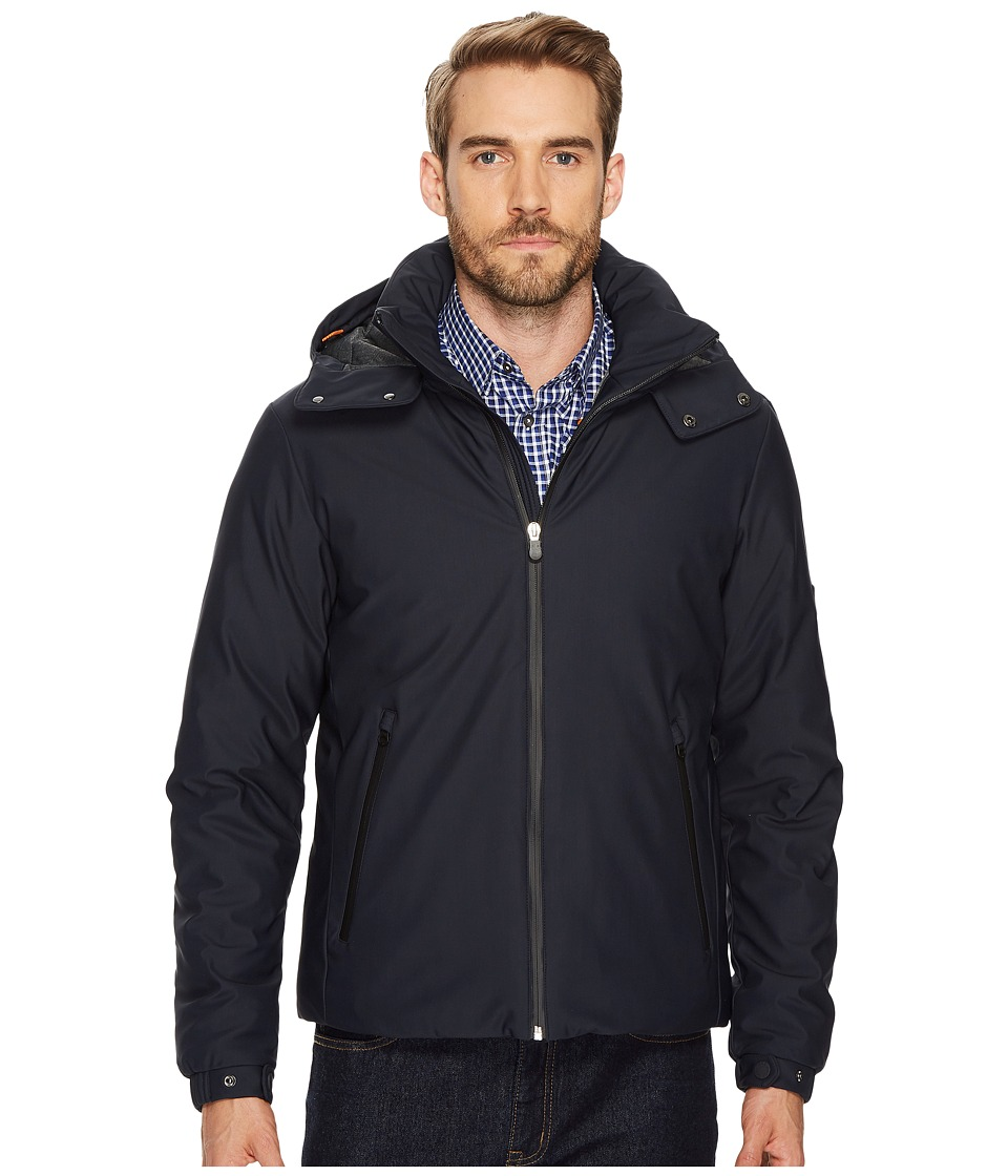 Save the Duck - Double Knit Stretch with Removable Hood (Blue/Black) Mens Coat