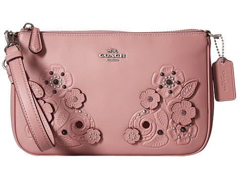 COACH Tea Rose Tooling with Applique Tooling Nolita Wristlet 22 - LH/Dusty Rose