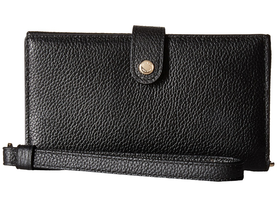 COACH - Polished Pebble Phone Wristlet (LI/Black) Wristlet Handbags