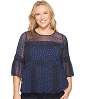 Lucky Brand - Plus Size Shirred Peasant Top