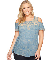 Lucky Brand - Plus Size Embroidered Cold Shoulder Top
