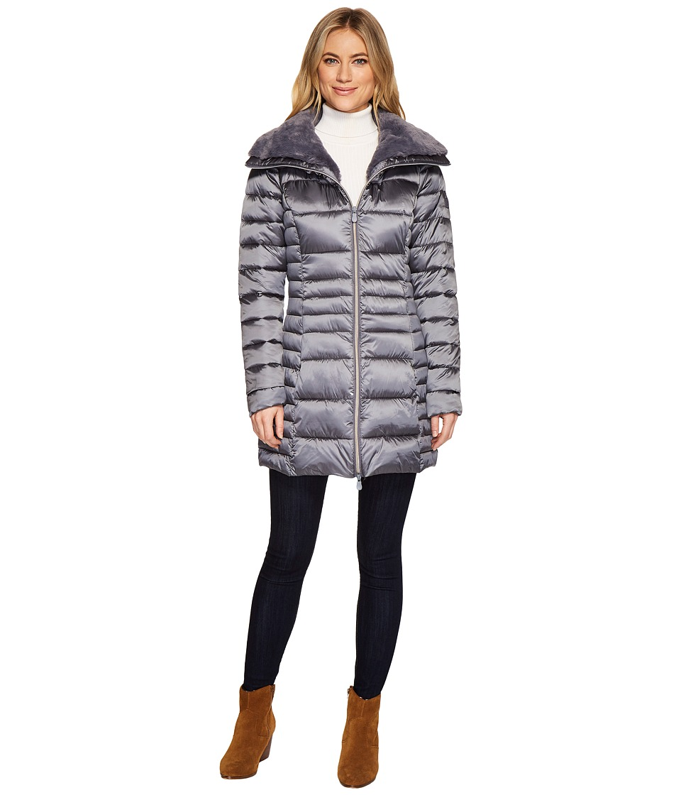 Save the Duck - Long Nylon Coat with Fake Fur