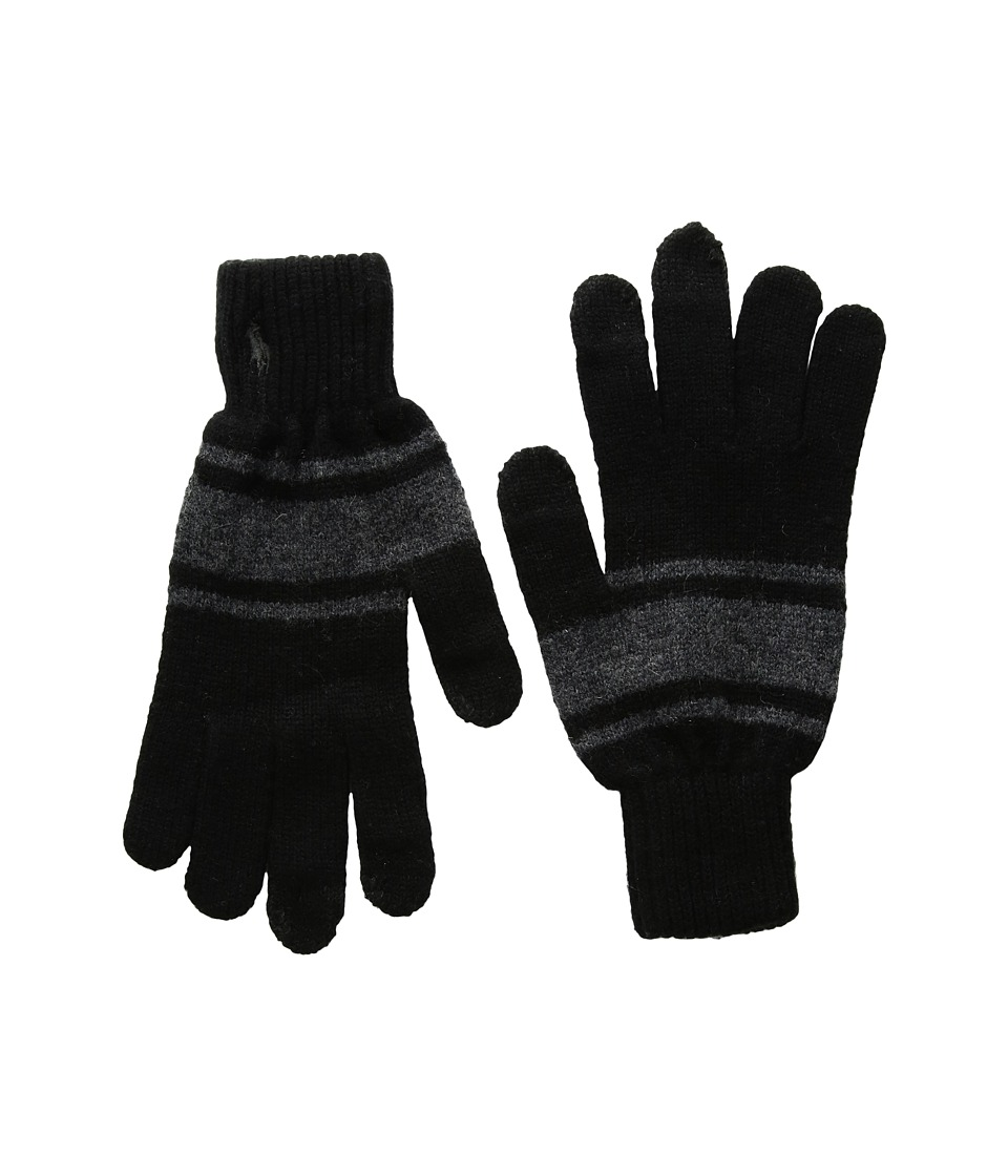 Polo Ralph Lauren Cashmere Blend Rugby Stripe Touch Gloves (Black/Charcoal) Wool Gloves