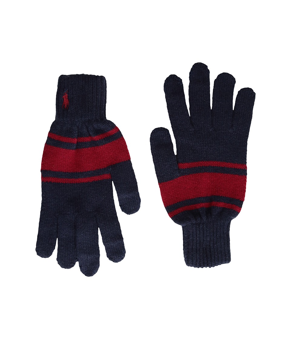 Polo Ralph Lauren Cashmere Blend Rugby Stripe Touch Gloves (Hunter Navy/Red) Wool Gloves