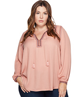 Lucky Brand - Plus Size Embroidered Boho Blouse