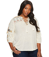 Lucky Brand - Plus Size Lace-Up Embroidered Top