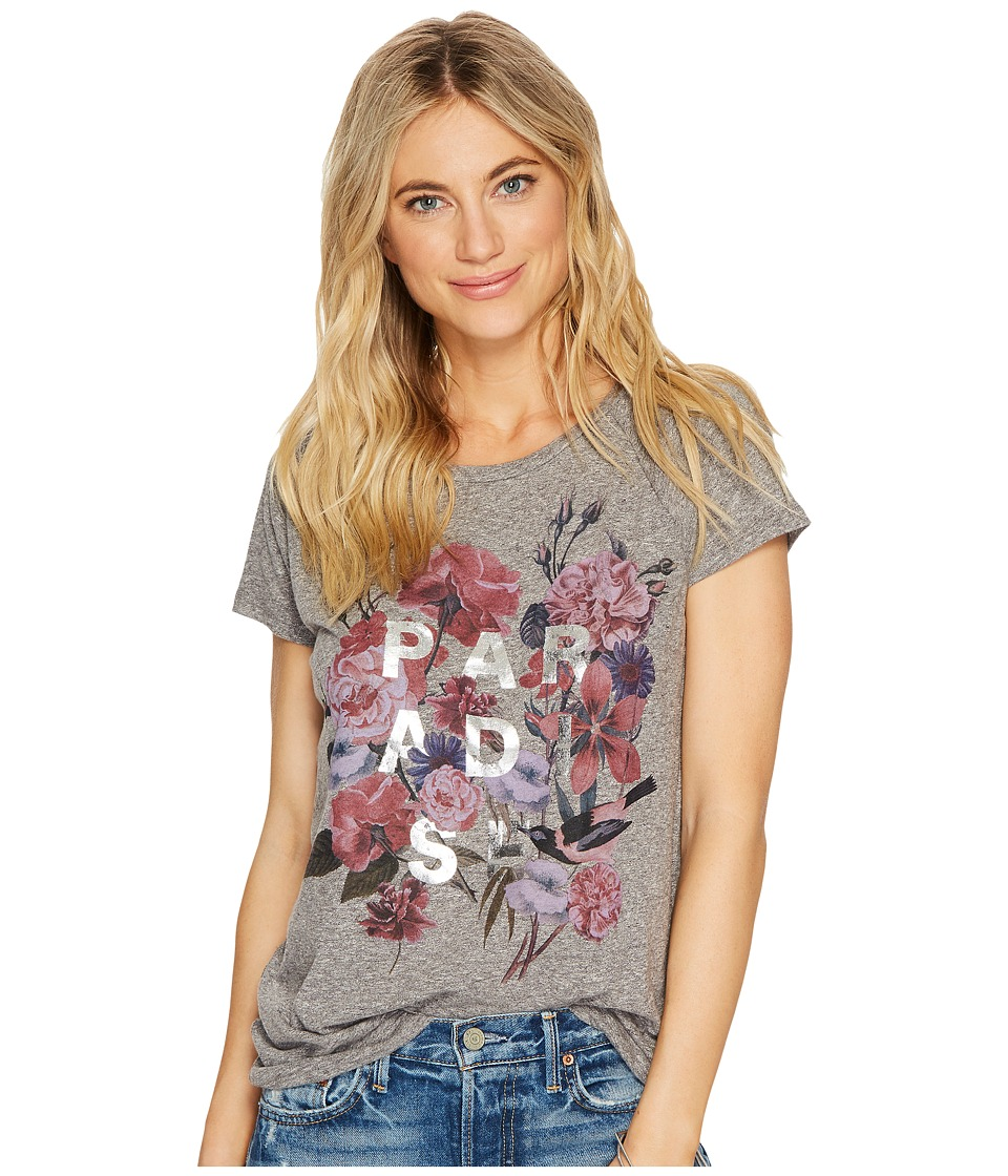 Lucky Brand Paradise Flowers Tee (Charcoal Heather) Women