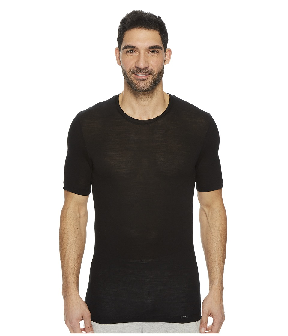 Hanro Light Merino Short Sleeve Shirt (Black) Men