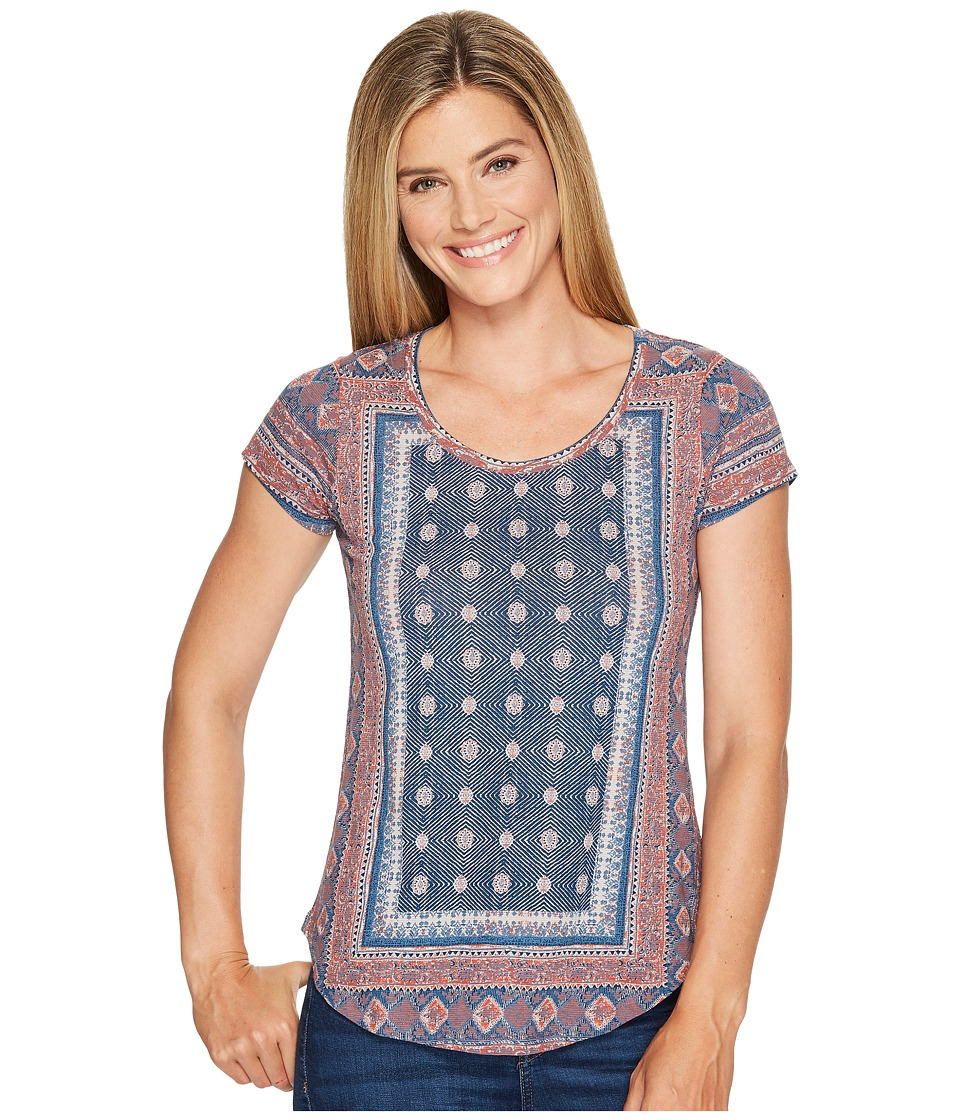 Lucky Brand Short Sleeve Placed Tee (Blue Multi) Women