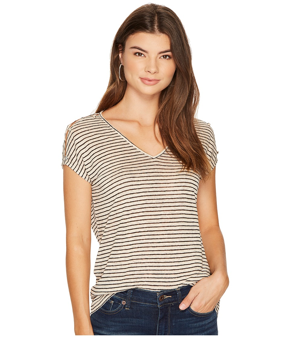 Lucky Brand Linen Stripe Tee (Natural Stripe) Women