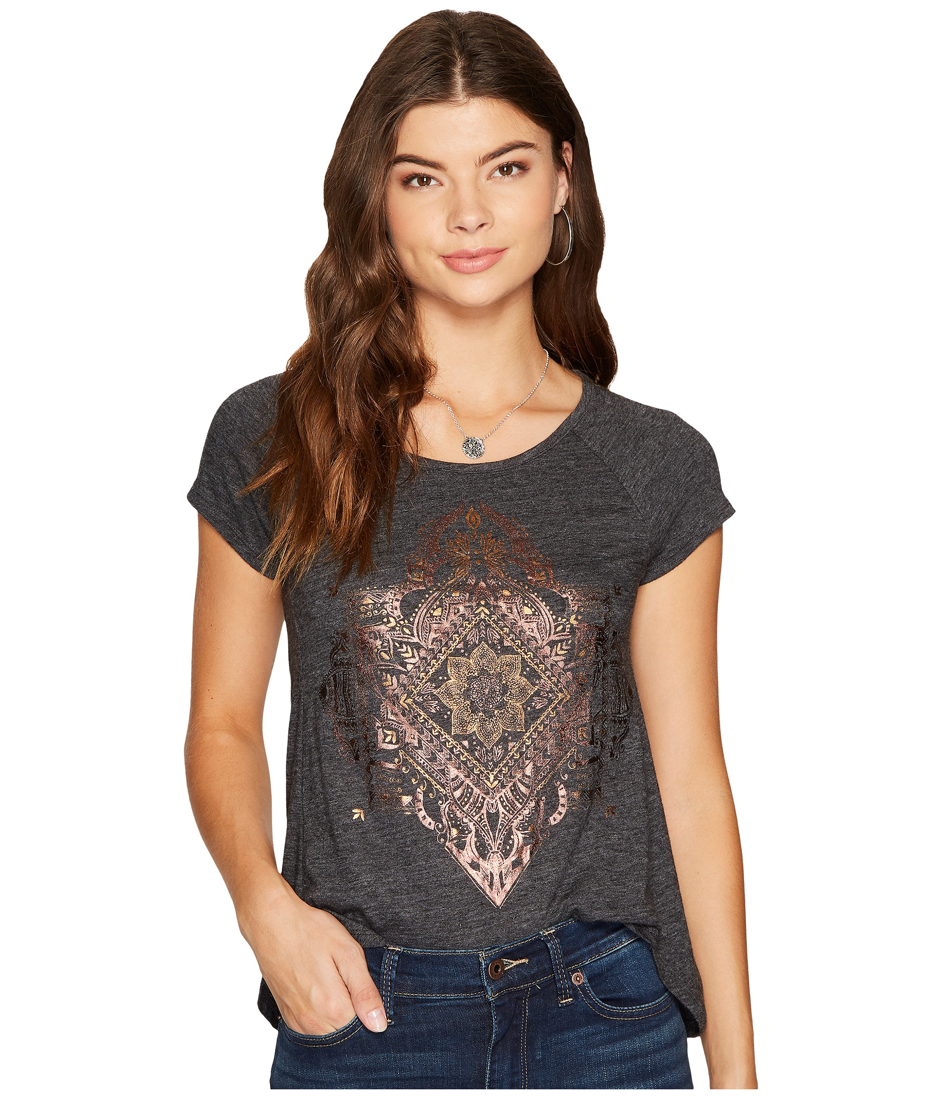 67 Off Free People Tops Free People Floral Scroll Design Thermal - Lucky brand egyptian tee