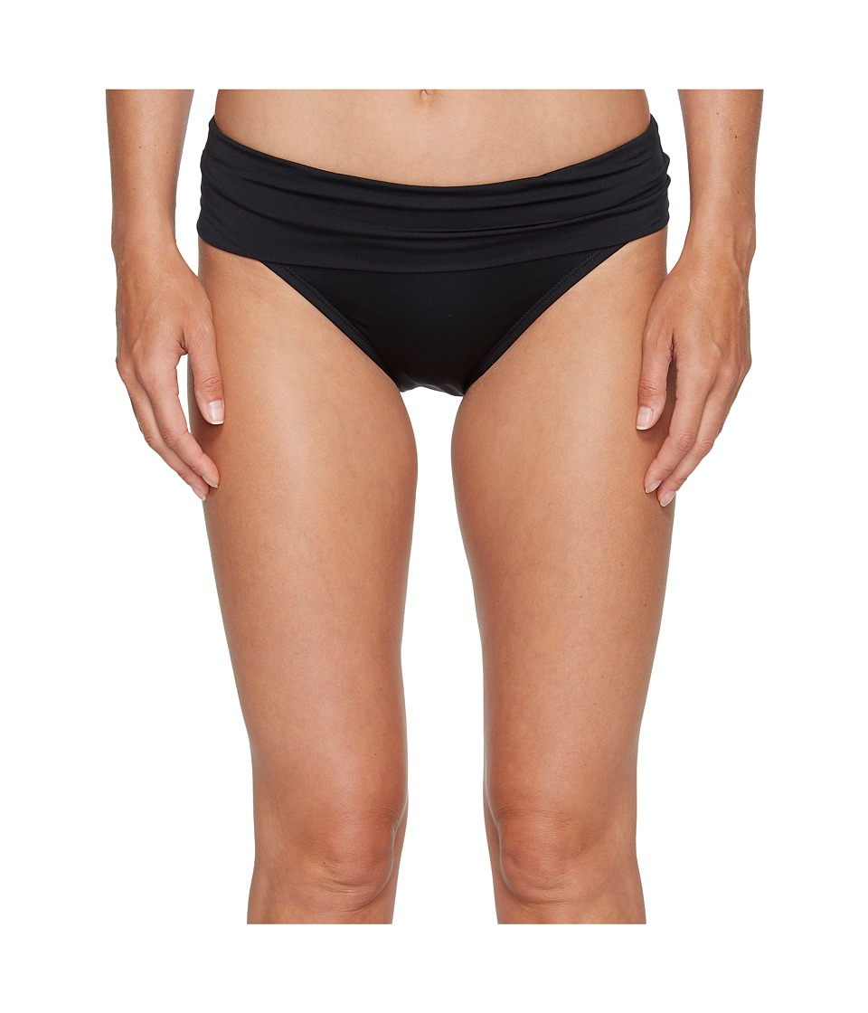 Jantzen - Solid Shirred Waist Bottom (Black) Womens Swimwear