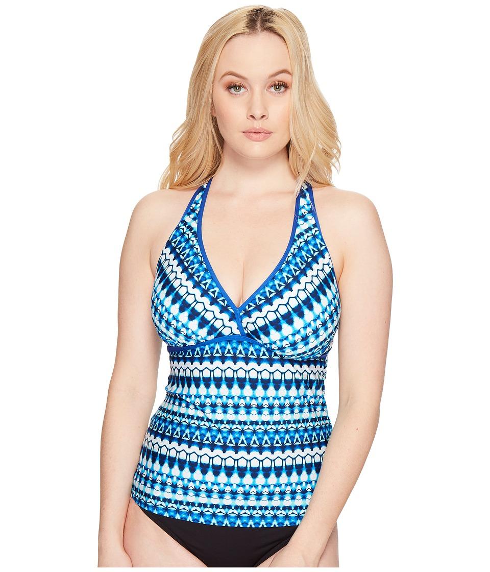 Jantzen Tie-Dye Geo Stripe D/DD H-Back Tankini Top (Night Ocean) Women