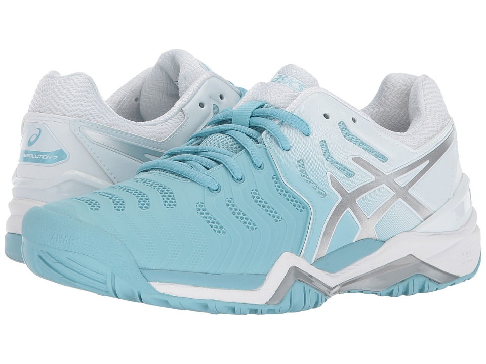 ASICS GEL RESOLUTION 7 CLAY - Outdoor tennis shoes - porcelain blue/silver/white lhhXYgpM