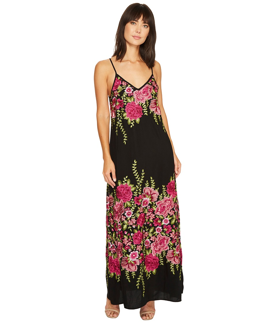 Karen Kane Embroidered Maxi Dress (Black/Embroidery) Women