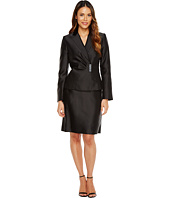 Tahari by ASL - Side Ruched Skirt Suit w/ Decorative Closure