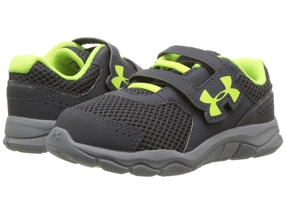 Under Armour Kids UA BINF Engage BL 3 AC (Infant/Toddler) (Stealth Gray/Steel/Yellow) Boys Shoes
