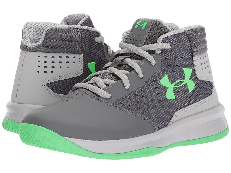 Under Armour Kids UA BPS Jet 2017 Basketball (Little Kid) (Graphite/Aluminum/Arena Green) Boys Shoes