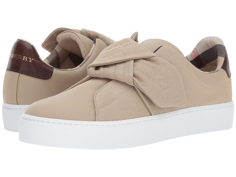 Burberry Trench Knot Cotton Gabardine Trainers (Honey) Women