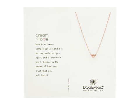 Dogeared Dream of Love, Heart Charm, Chain Necklace - Rose Gold/Rose Gold