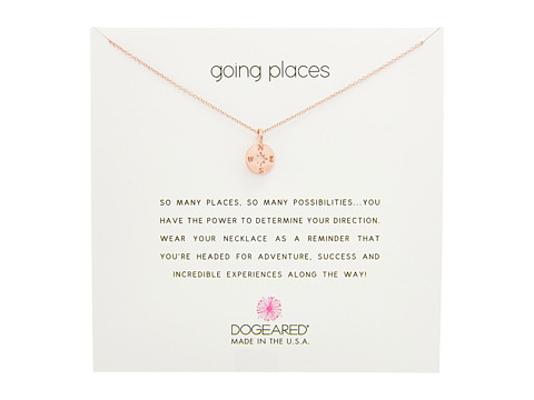 Dogeared Going Places, Flat Compass Necklace - Rose Gold