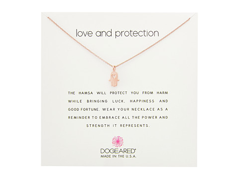 Dogeared Love and Protection, Heart Hamsa Necklace - Rose Gold