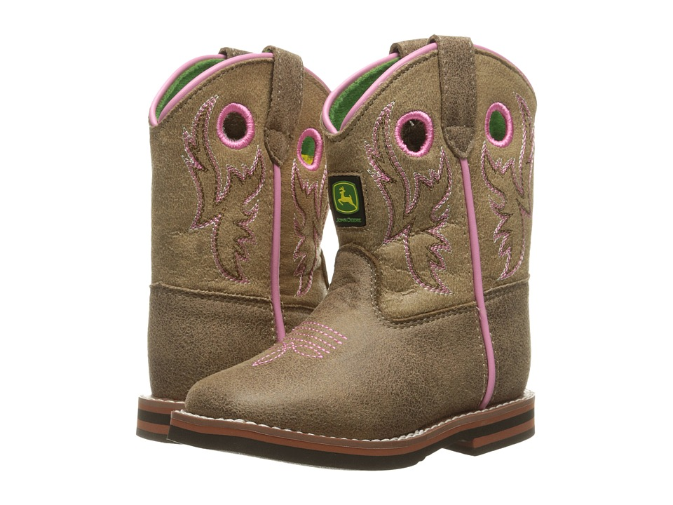 John Deere - Everyday Broad Square Toe (Toddler) (Tan/Pink) Women's Work Boots