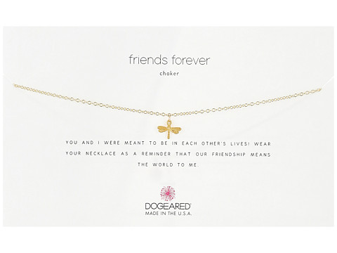 Dogeared Friends Forever Choker Necklace, Dragonfly Charm - Gold
