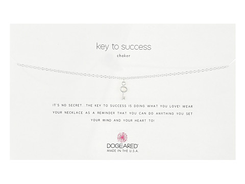 Dogeared Key To Success Choker Necklace, Simple Key Charm - Silver