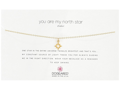 Dogeared You Are My North Star Choker Necklace, Open North Star Charm - Gold